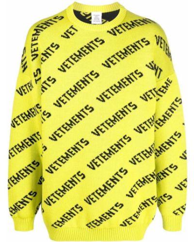 Желтая джемпер из шерсти мериноса с принтом Vetements