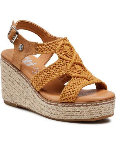 Brązowe sandały espadryle Xti