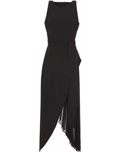 Шифоновое платье миди - черное Badgley Mischka