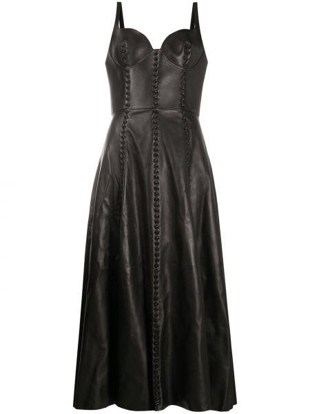 Кожаное платье миди с открытой спиной на бретелях на молнии Alexander Mcqueen