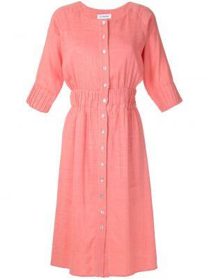 Платье с поясом розовое на пуговицах Olympiah
