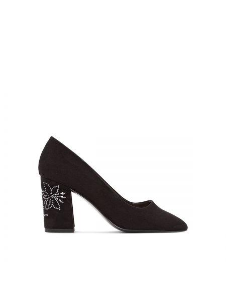 Кожаные туфли со стразами на каблуке La Redoute Collections