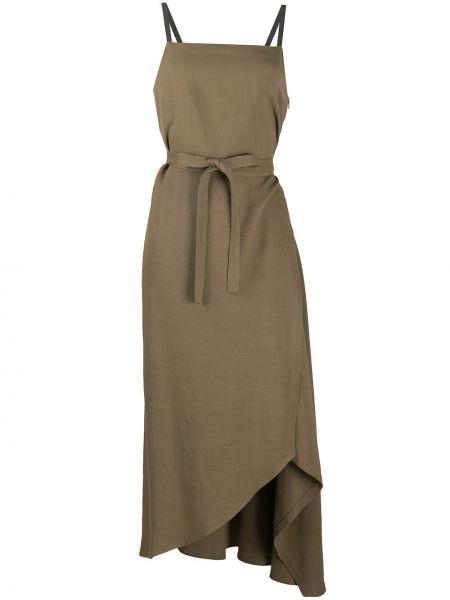 Зеленое платье макси с запахом с поясом Brunello Cucinelli