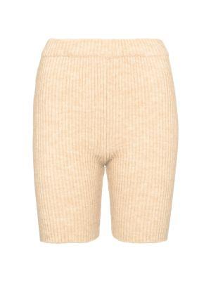 Шерстяные шорты - бежевые Nanushka