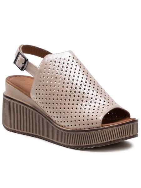 Złote sandały skórzane - beżowe Badura