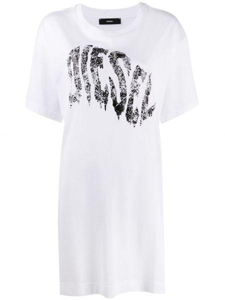 Прямое с рукавами белое платье мини Diesel
