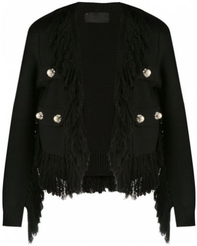 Черное длинное пальто с капюшоном с бахромой Andrea Bogosian