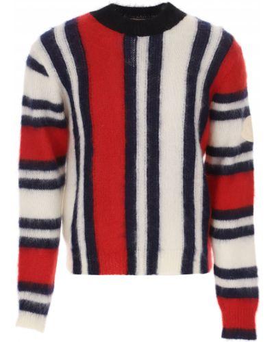 Biały sweter moherowy w paski Moncler