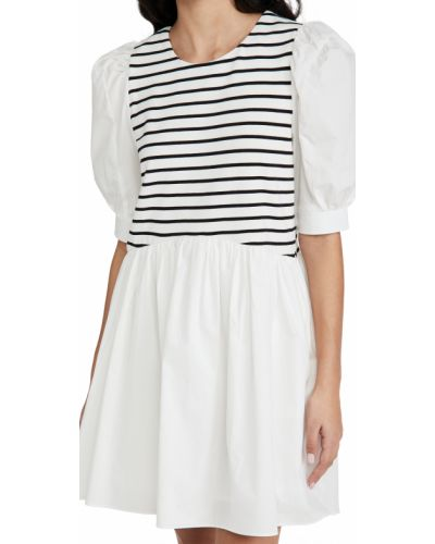 Трикотажное белое платье с декольте English Factory