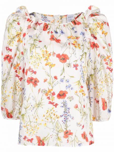Плиссированная белая блузка с вырезом Sara Roka