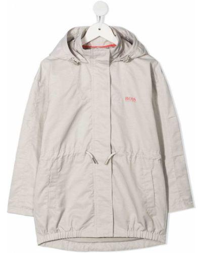 Ватное серое пальто классическое с капюшоном Boss Kidswear