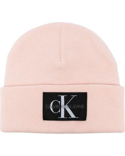 Шерстяная шапка бини - розовая Calvin Klein