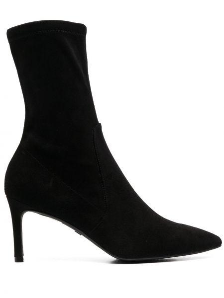 Кожаные черные носки на каблуке Stuart Weitzman