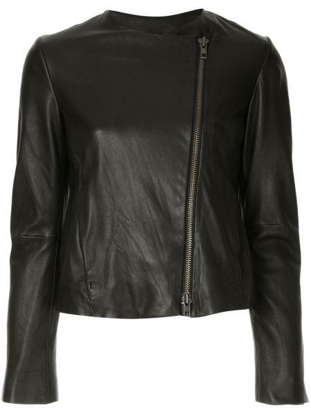 Черная кожаная длинная куртка круглая Vince