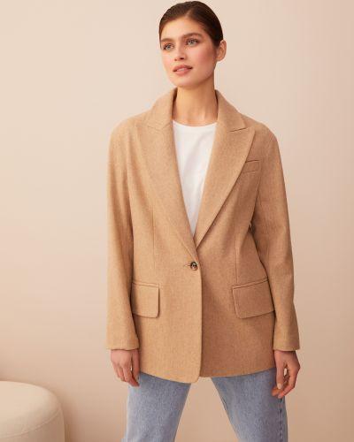 Бежевый шерстяной пиджак оверсайз 12storeez