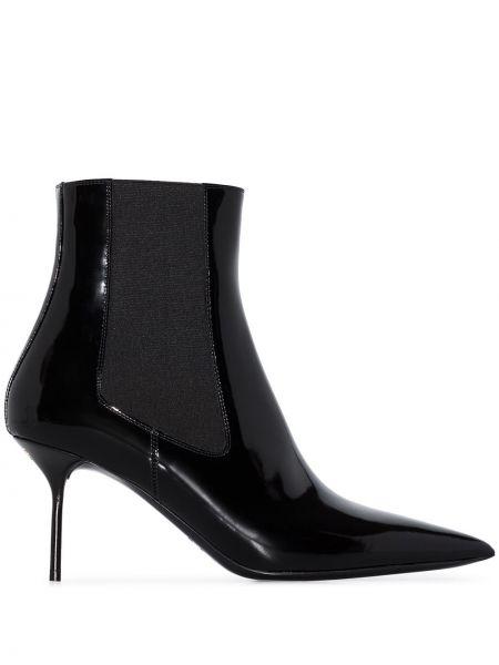 Черные сапоги без каблука на каблуке с острым носом из натуральной кожи Tom Ford