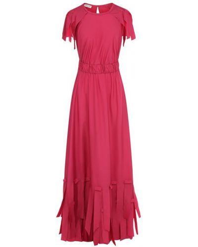 Платье макси с бахромой с поясом Vionnet