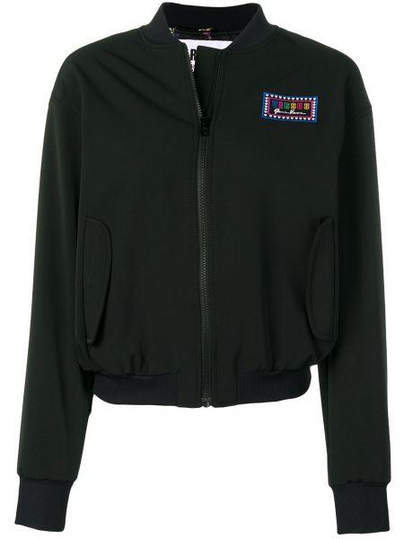 Черная куртка с вышивкой на молнии с манжетами Versus