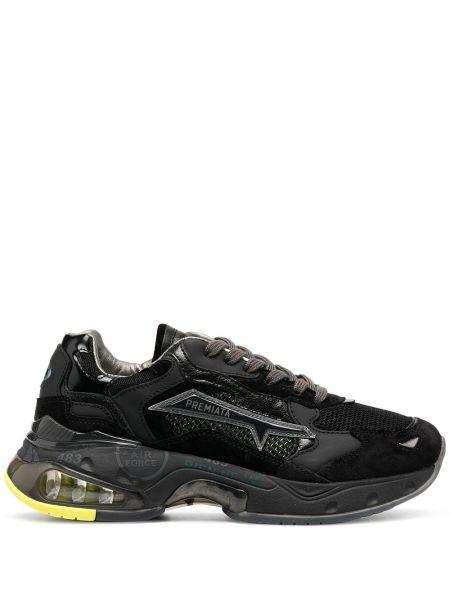 Массивные черные кроссовки с нашивками на шнуровке Premiata