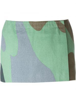 Хлопковая зеленая юбка с запахом винтажная Stephen Sprouse Pre-owned