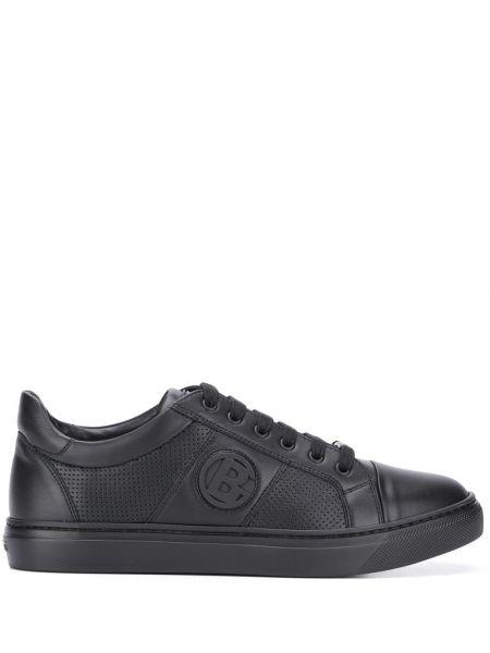 Кожаные черные кроссовки на шнуровке круглые Baldinini