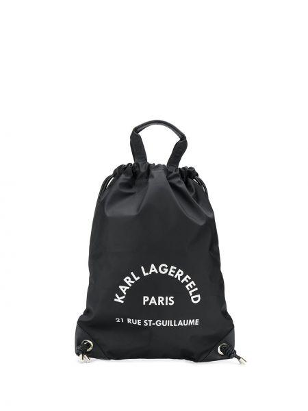 Czarny plecak skórzany Karl Lagerfeld