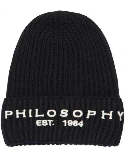 Czarny akryl kapelusz z haftem Philosophy Di Lorenzo Serafini