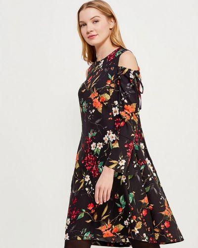 Черное платье с длинными рукавами Zarina
