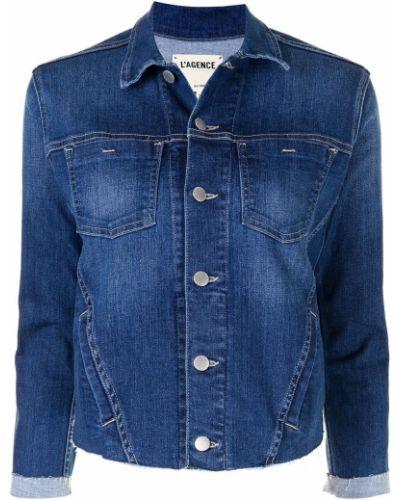 Ватная синяя джинсовая куртка с воротником L'agence
