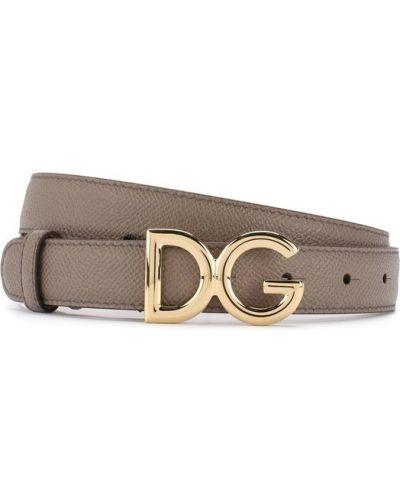 Серый ремень кожаный Dolce & Gabbana
