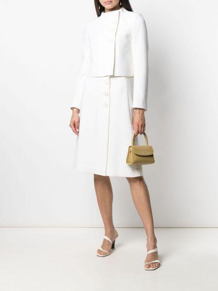 Прямой белый удлиненный пиджак с воротником Goat