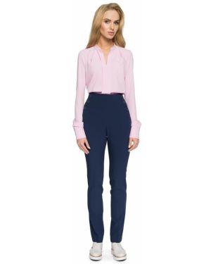 Klasyczne spodnie klasyczne z wysokim stanem materiałowe Stylove