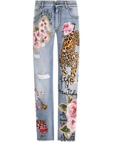 Прямые джинсы с аппликацией с лампасами Dolce & Gabbana