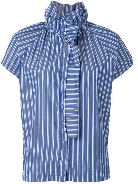 Хлопковая с рукавами плиссированная синяя рубашка с коротким рукавом A Shirt Thing