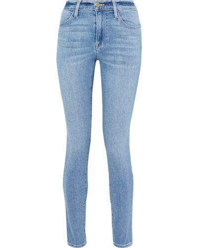 Niebieskie jeansy rurki z paskiem bawełniane Frame