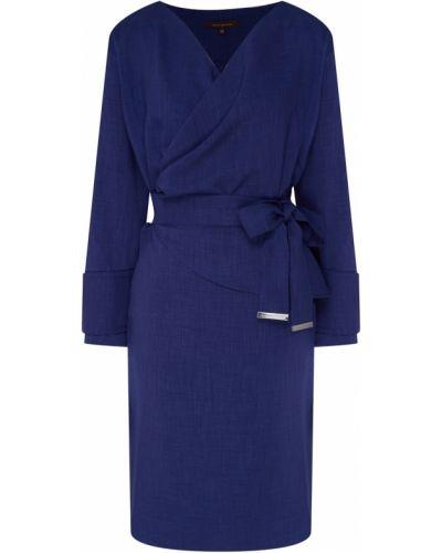 С рукавами синее платье мини с запахом Adolfo Dominguez