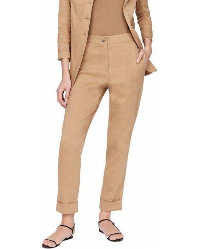 Lniane beżowe spodnie Sarah Pacini