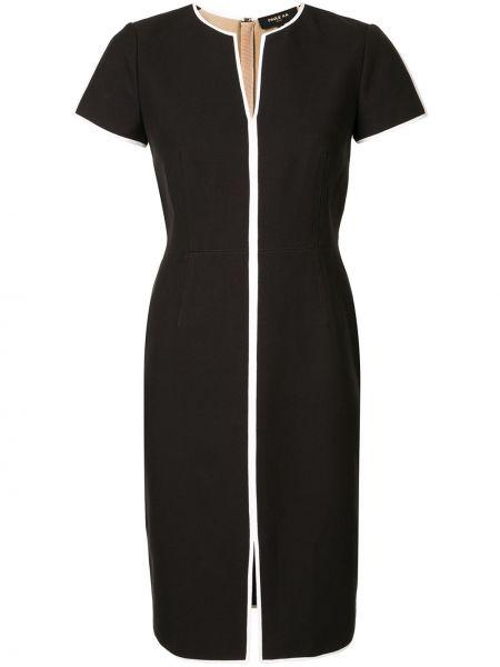 Черное прямое приталенное платье миди с короткими рукавами Paule Ka