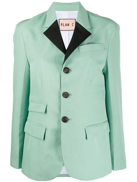Зеленый пиджак с карманами на пуговицах Plan C
