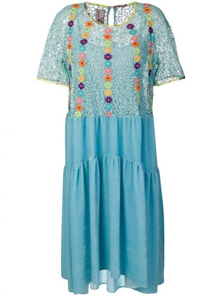 Niebieska sukienka mini rozkloszowana krótki rękaw Antonio Marras
