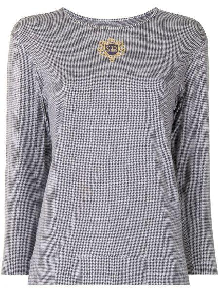 Czarny t-shirt z długimi rękawami bawełniany Christian Dior