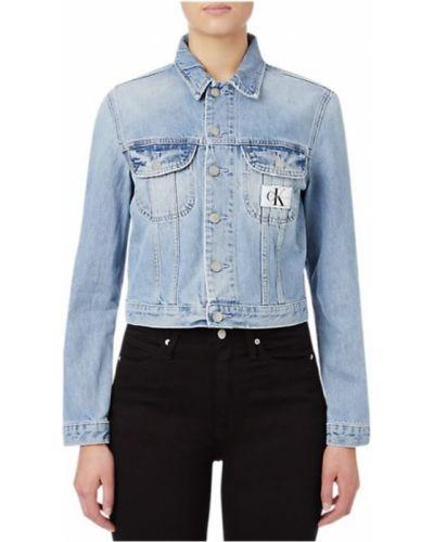 Niebieski kurtka jeansowa z kieszeniami na przyciskach Calvin Klein