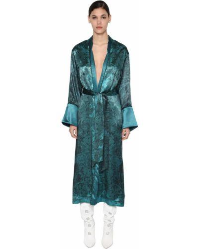 Бархатное синее длинное пальто с поясом F.r.s For Restless Sleepers