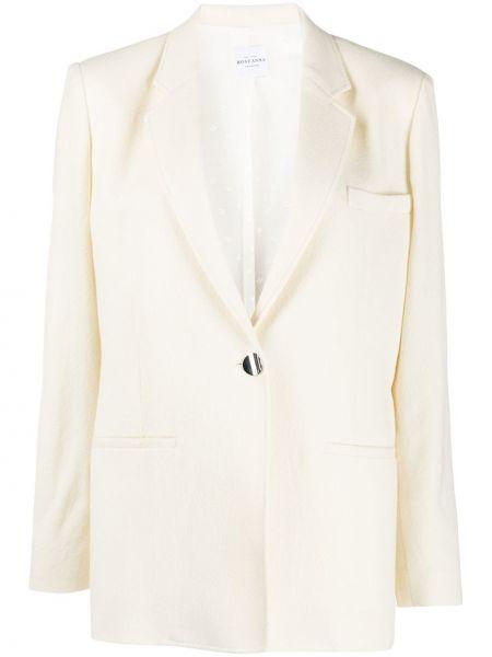 Однобортный белый классический пиджак с карманами Roseanna