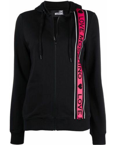 Черная куртка с капюшоном на молнии Love Moschino