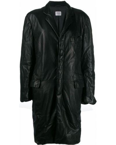 Черное длинное пальто с капюшоном на пуговицах Giorgio Armani Pre-owned
