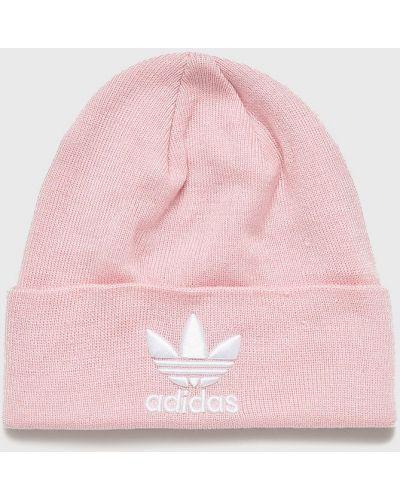 Зимняя шапка с отворотом розовый Adidas Originals