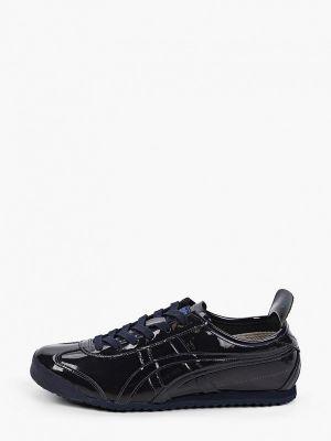 Лаковые синие кожаные низкие кроссовки Onitsuka Tiger