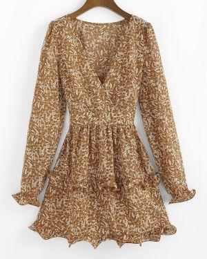Платье мини с декольте с цветочным принтом Zaful