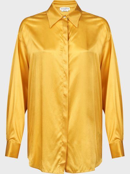 Желтая шелковая блузка на пуговицах Ballantyne